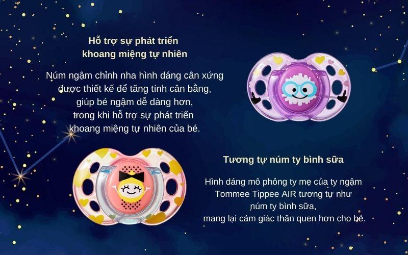 Đặc điểm Ty ngậm thoáng khí cho bé Tommee Tippee AIR 6-18 tháng (vỉ 2 cái) - Tím/Hồng