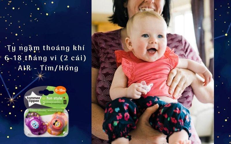 Ty ngậm thoáng khí cho bé Tommee Tippee AIR 6-18 tháng (vỉ 2 cái) - Tím/Hồng
