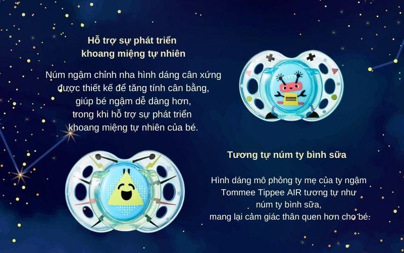 Đặc điểm Ty ngậm thoáng khí cho bé Tommee Tippee AIR 6-18 tháng (vỉ 2 cái) - Xanh
