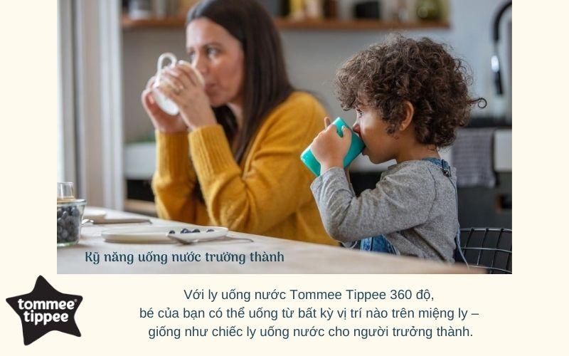 Đặc điểm Ly tập uống nước chống đổ cho bé Tommee Tippee 360 Deco Trainer 200ml từ 6 tháng – Xanh Dương