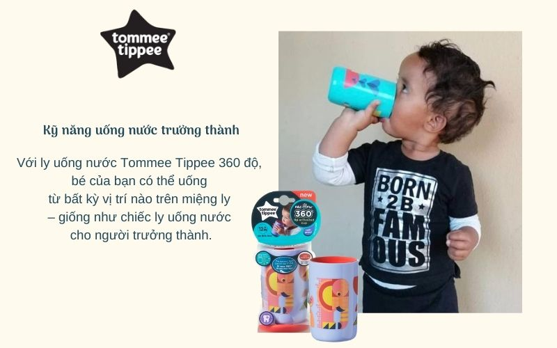 Đặc điểm Ly tập uống nước chống đổ cho bé Tommee Tippee 360 Deco Tumbler 250ml từ 12 tháng – Tím