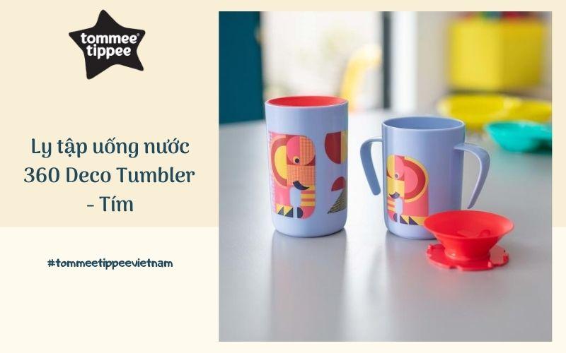 Ly tập uống nước chống đổ cho bé Tommee Tippee 360 Deco Tumbler 250ml từ 12 tháng – Tím