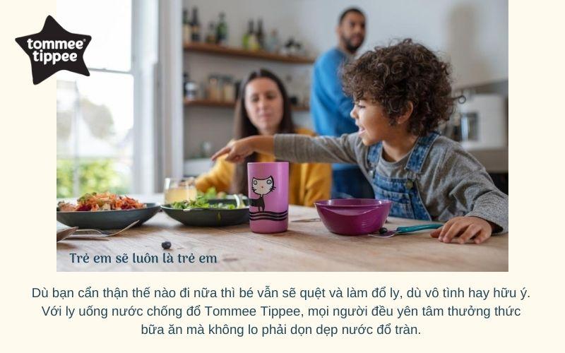 Đặc điểm Ly uống nước chống đổ cho bé Tommee Tippee No-Knock 300ml từ 18 tháng - Tím