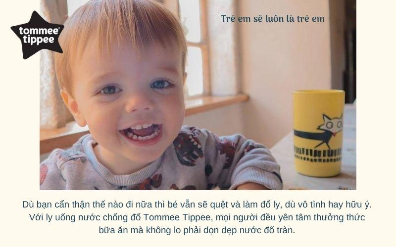 Đặc điểm Ly uống nước chống đổ cho bé Tommee Tippee No-Knock 300ml từ 18 tháng - Vàng