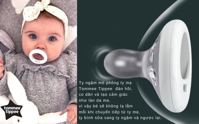 Đặc điểm Ty ngậm mô phỏng ty mẹ Tommee Tippee cho bé 6-18 tháng (vỉ 1 cái)