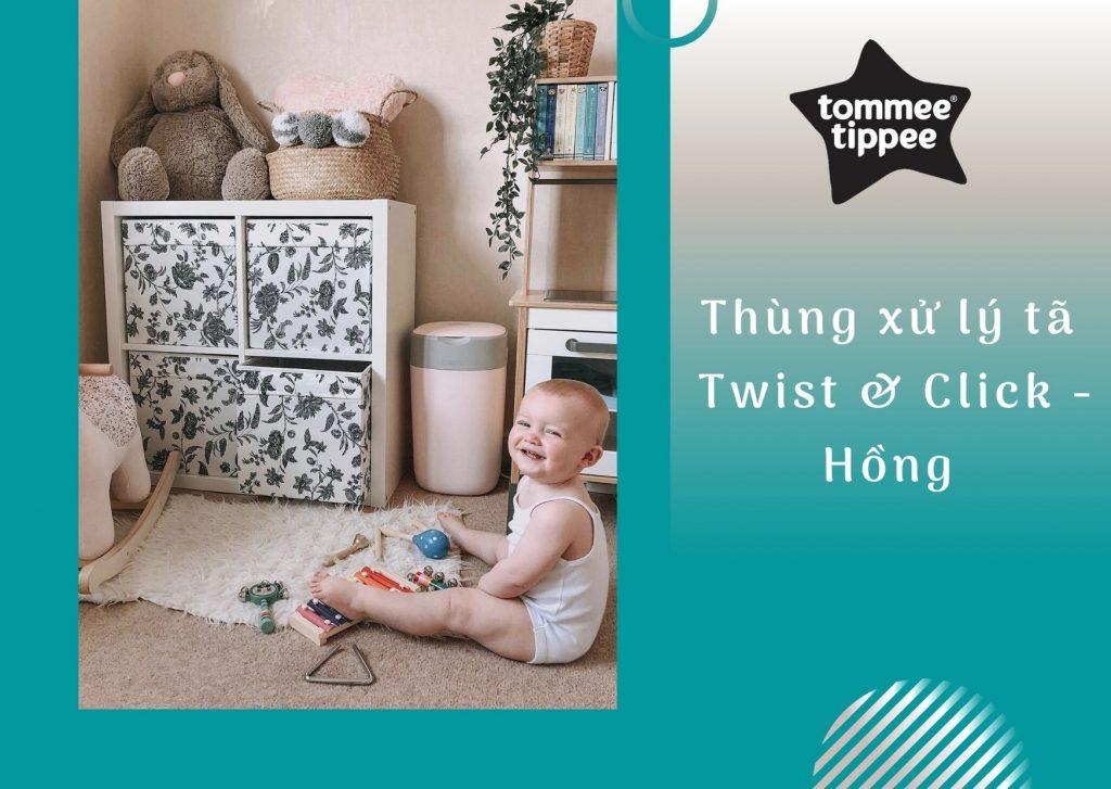 Thùng xử lý tã cho bé Tommee Tippee Twist & Click – Hồng