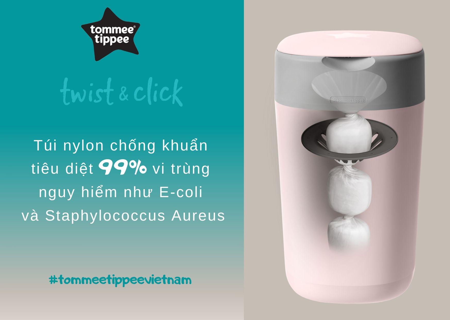 Đặc điểm Thùng xử lý tã cho bé Tommee Tippee Twist & Click – Hồng
