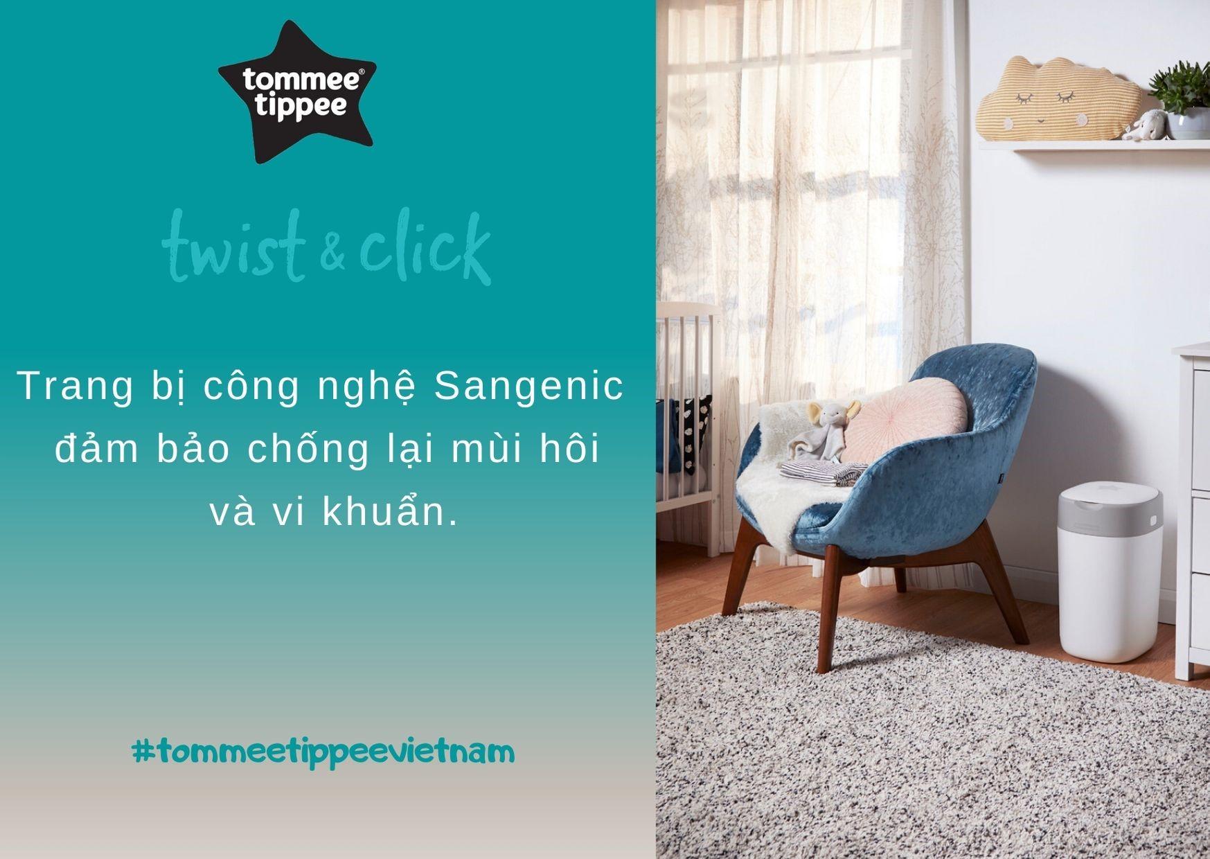 Đặc điểm Thùng xử lý tã cho bé Tommee Tippee Twist & Click - Trắng