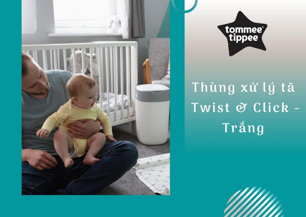 Thùng xử lý tã cho bé Tommee Tippee Twist & Click - Trắng