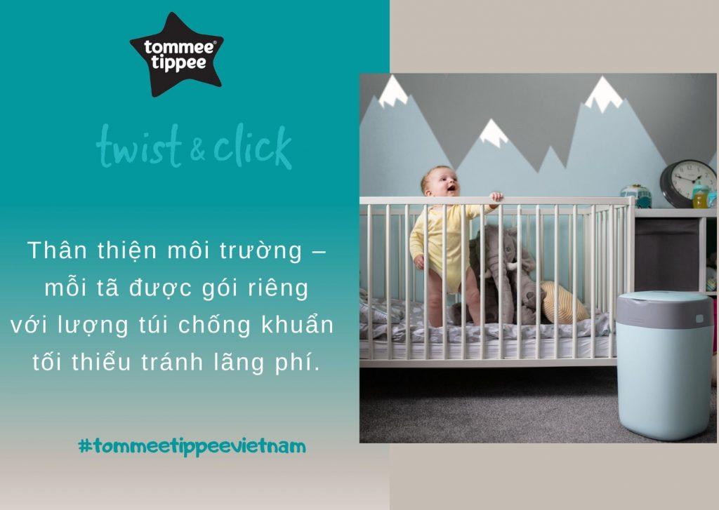 Đặc điểm Thùng xử lý tã cho bé Tommee Tippee Twist & Click – Xanh Dương