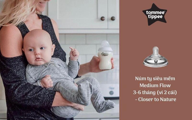 Núm ty siêu mềm cho bé Tommee Tippee Closer to Nature Medium Flow 3-6 tháng (vỉ 2 cái)