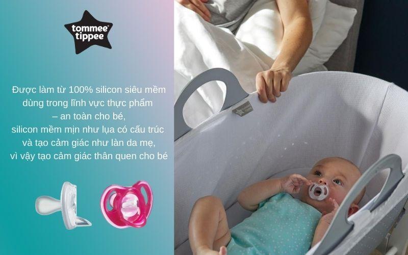 Đặc điểm Ty ngậm silicon siêu nhẹ cho bé Tommee Tippee 18-36 tháng (vỉ 2 cái) - Hồng/Trắng