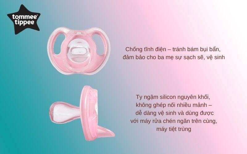 Đặc điểm Ty ngậm silicon siêu nhẹ cho bé Tommee Tippee 0-6 tháng (vỉ 1 cái) - Hồng