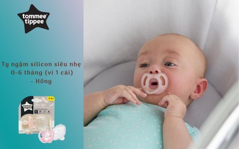 Ty ngậm silicon siêu nhẹ cho bé Tommee Tippee 0-6 tháng (vỉ 1 cái) - Hồng