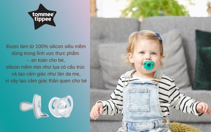 Đặc điểm Ty ngậm silicon siêu nhẹ cho bé Tommee Tippee 0-6 tháng (vỉ 1 cái) - Trắng