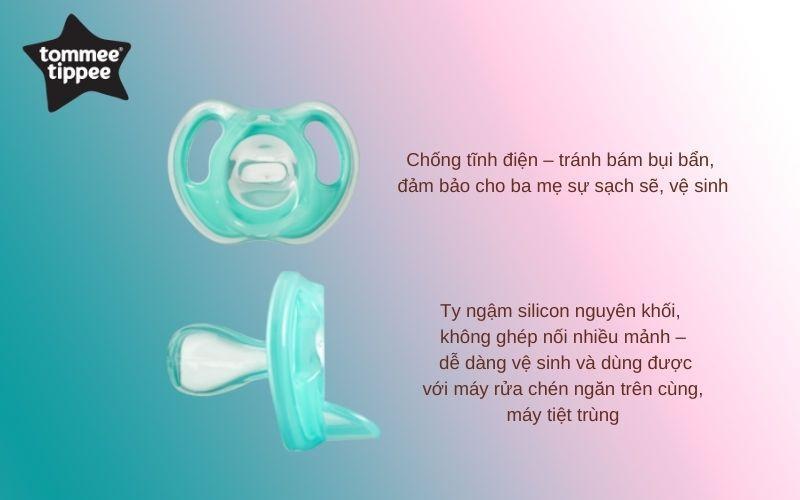 Đặc điểm Ty ngậm silicon siêu nhẹ cho bé Tommee Tippee 0-6 tháng  (vỉ 1 cái) - Xanh ngọc