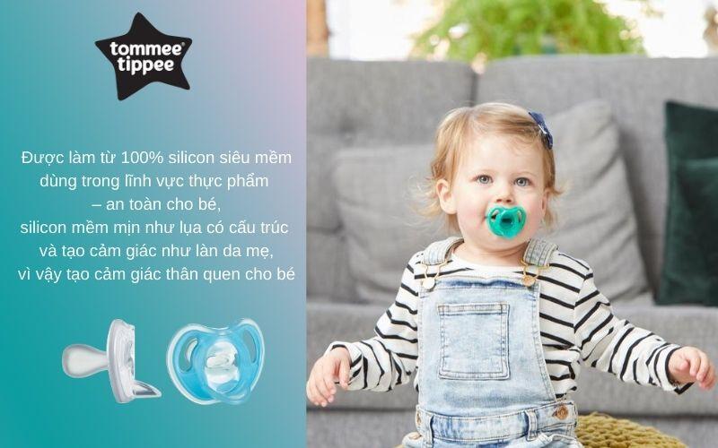 Đặc điểm Ty ngậm silicon siêu nhẹ cho bé Tommee Tippee 0-6 tháng (vỉ 2 cái) - Xanh dương/Trắng