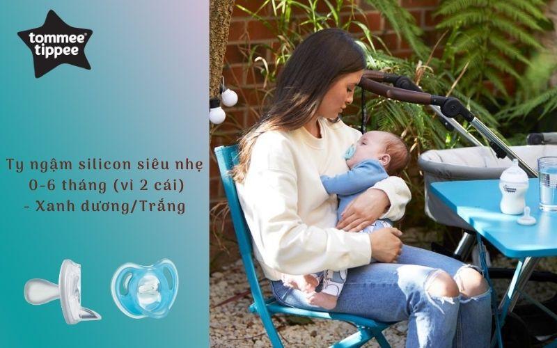 Ty ngậm silicon siêu nhẹ cho bé Tommee Tippee 0-6 tháng (vỉ 2 cái) - Xanh dương/Trắng