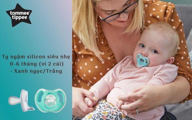 Ty ngậm silicon siêu nhẹ cho bé Tommee Tippee 0-6 tháng (vỉ 2 cái) - Xanh ngọc/Trắng