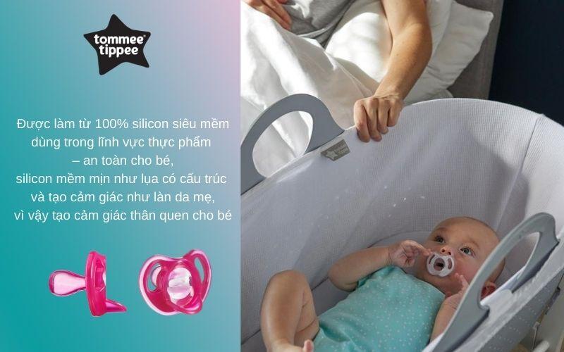 Đặc điểm Ty ngậm silicon siêu nhẹ cho bé Tommee Tippee 18-36 tháng (vỉ 1 cái) - Hồng