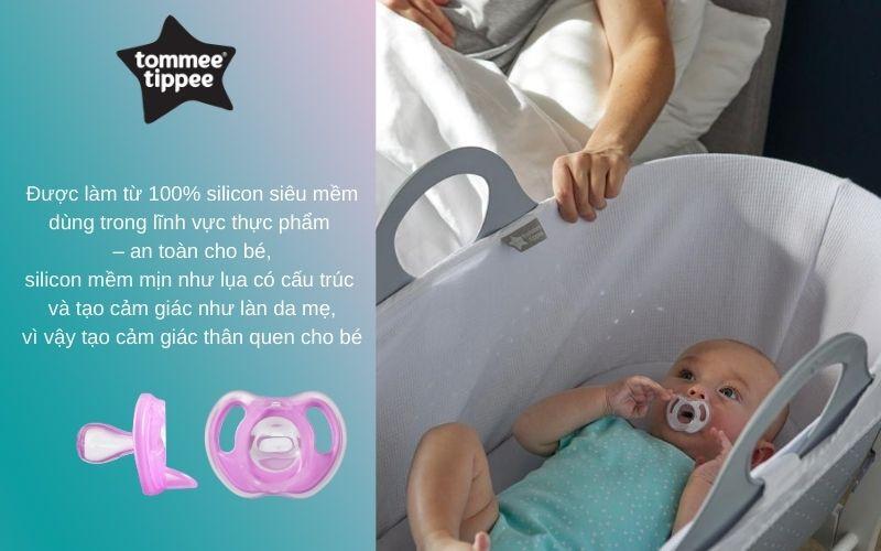 Đặc điểm Ty ngậm silicon siêu nhẹ cho bé Tommee Tippee 6-18 tháng (vỉ 1 cái) - Tím