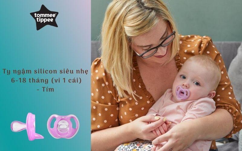 Ty ngậm silicon siêu nhẹ cho bé Tommee Tippee 6-18 tháng (vỉ 1 cái) - Tím