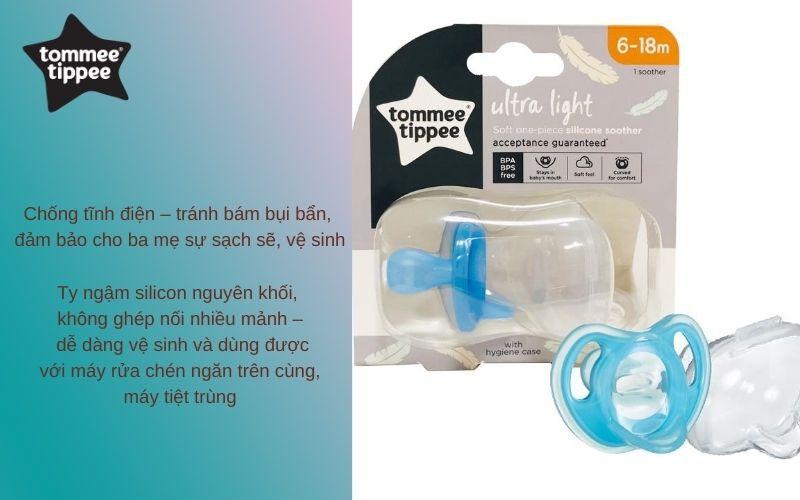 Đặc điểm Ty ngậm silicon siêu nhẹ cho bé Tommee Tippee 6-18 tháng (vỉ 1 cái) - Xanh dương