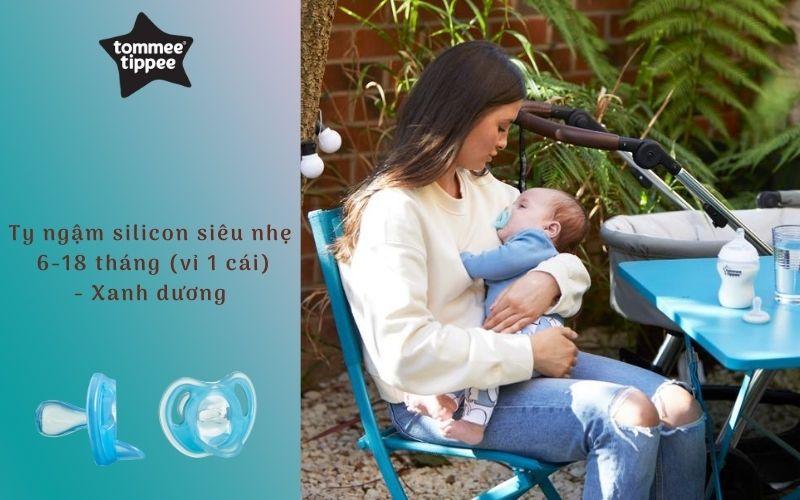 Ty ngậm silicon siêu nhẹ cho bé Tommee Tippee 6-18 tháng (vỉ 1 cái) - Xanh dương