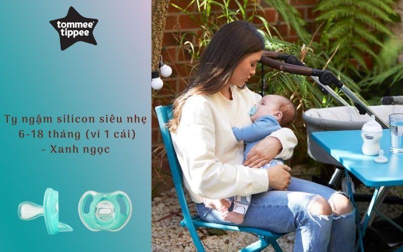 Ty ngậm silicon siêu nhẹ cho bé Tommee Tippee 6-18 tháng (vỉ 1 cái) - Xanh ngọc