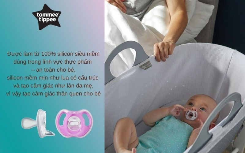 Đặc điểm Ty ngậm silicon siêu nhẹ cho bé Tommee Tippee 6-18 tháng (vỉ 2 cái) - Tím/Trắng