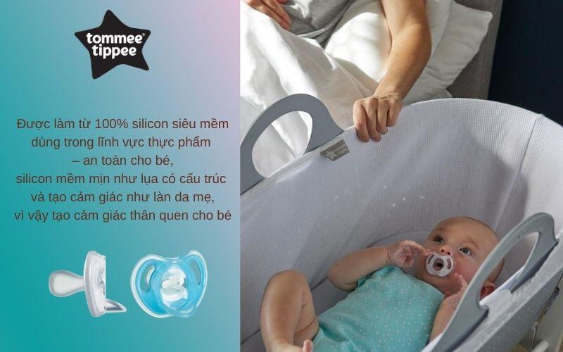 Đặc điểm Ty ngậm silicon siêu nhẹ cho bé Tommee Tippee 6-18 tháng (vỉ 2 cái) - Xanh dương/Trắng