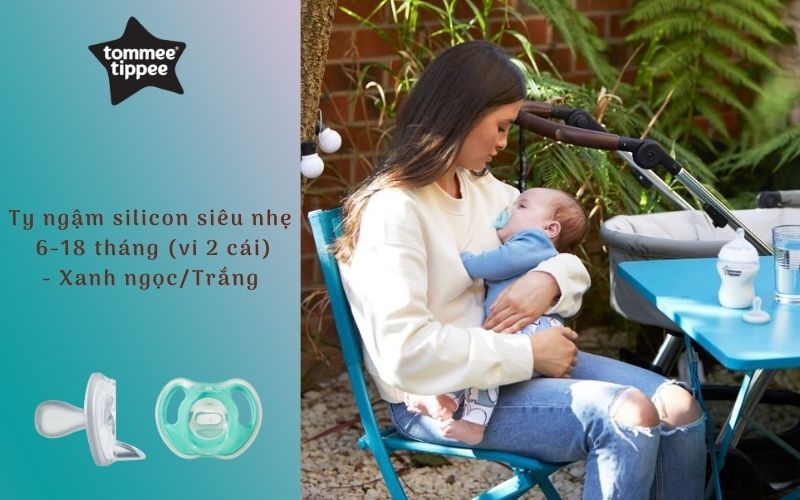 Ty ngậm silicon siêu nhẹ cho bé Tommee Tippee 6-18 tháng (vỉ 2 cái) - Xanh ngọc/Trắng