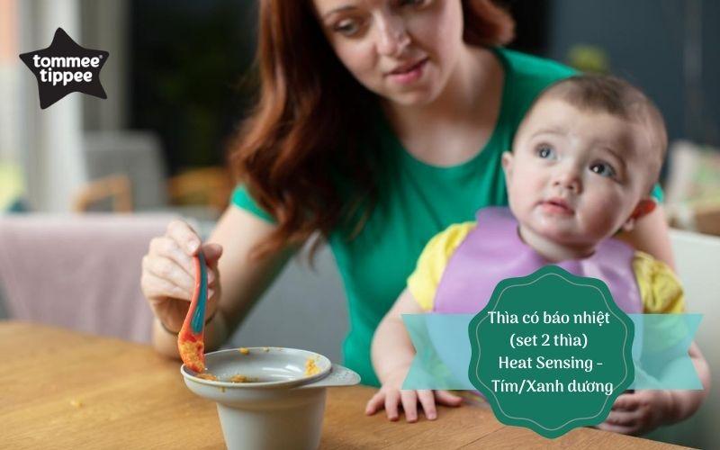 Thìa ăn dặm có báo nhiệt cho bé Tommee Tippee Heat Sensing từ 4 tháng (set 2 thìa) - Tím/Xanh dương